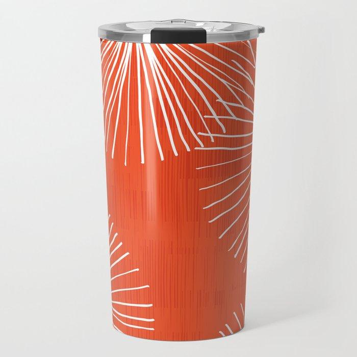 Dandelions in Red by Friztin Travel Mug