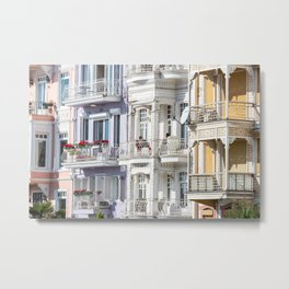 Travel Photography 'street in Arnavutkoy, in Istanbul, Turkey with colorful houses in pastel tones, fine art photo print.  Metal Print