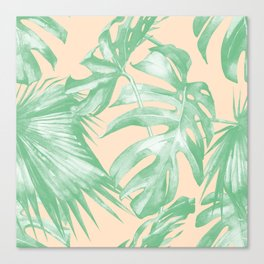 Tropical Leaves Palm Green on Citrus Canvas Print