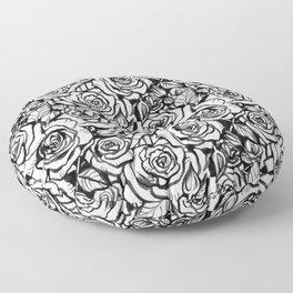 Rose Bush - Black and White Pattern Floor Pillow