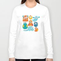 aliens Long Sleeve T-shirts featuring Aliens and monsters pattern by Maria Jose Da Luz