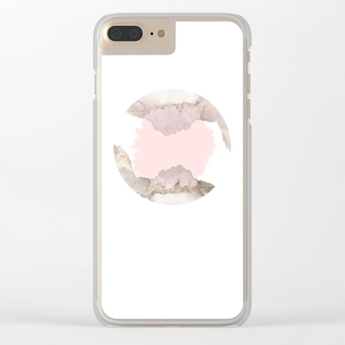 Pale Pink on Mountains Clear iPhone Case