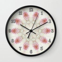 Pink Chrysanthemums Kaleidoscope Art 2 Wall Clock