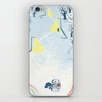 cycling iPhone & iPod Skins featuring Winter Cycling by Dushan Milic