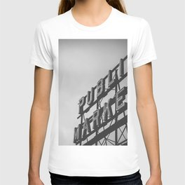 Seattle Pike Place Public Market Black and White T-shirt