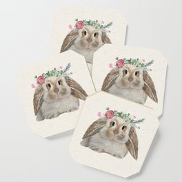 Floral Crown Bunny on Burlap Coaster