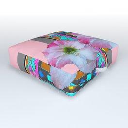 PINK-TURQUOISE  AMARYLLIS WESTERN ART DESIGN Outdoor Floor Cushion