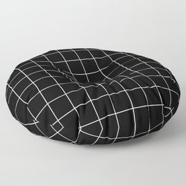 Grid Line Stripe Black and White Minimalist Geometric Floor Pillow