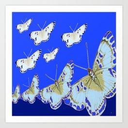 PATTERN OF BLUE & WHITE BUTTERFLIES MODERN ART Art Print