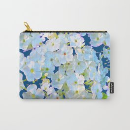 DELICATE TEAL & WHITE LACE FLORAL GARDEN Carry-All Pouch