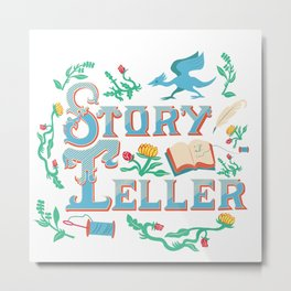 Storyteller white Metal Print