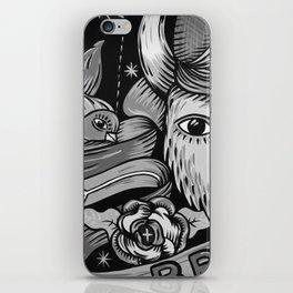 Yak and Bird Graffiti (Black and White) iPhone Skin