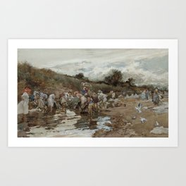 Francisco Pradilla Ortiz,  Washerwomen at the River 1913 Art Print