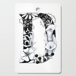 Floral Pen and Ink Letter D Cutting Board