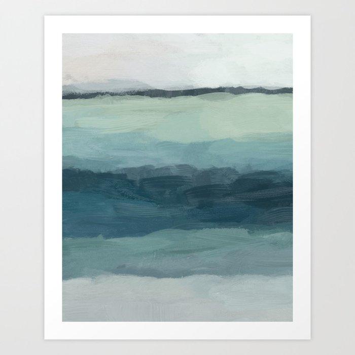 Seafoam Green Mint Navy Blue Abstract Ocean Art Painting Kunstdrucke