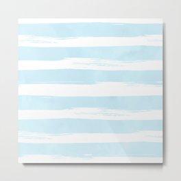 Pastel Blue Stripes Metal Print