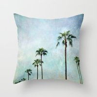 palm trees Throw Pillows featuring Palm trees by Sylvia Cook Photography