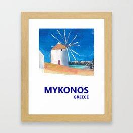 Mykonos Greece Windmill, Sea and Little Venice Travel Retro Poster Framed Art Print