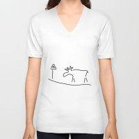 sweden V-neck T-shirts featuring elk Sweden Norway warning by Lineamentum