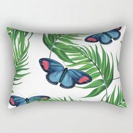 Green tropical leafs and blue butterflies pattern Rectangular Pillow