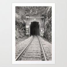 Bellingham Railroad Tunnel, Washington Trains, Northwest Landscape, Sepia Print Art Print