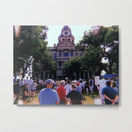 Protest in front of the Denton Courthouse Metal Print