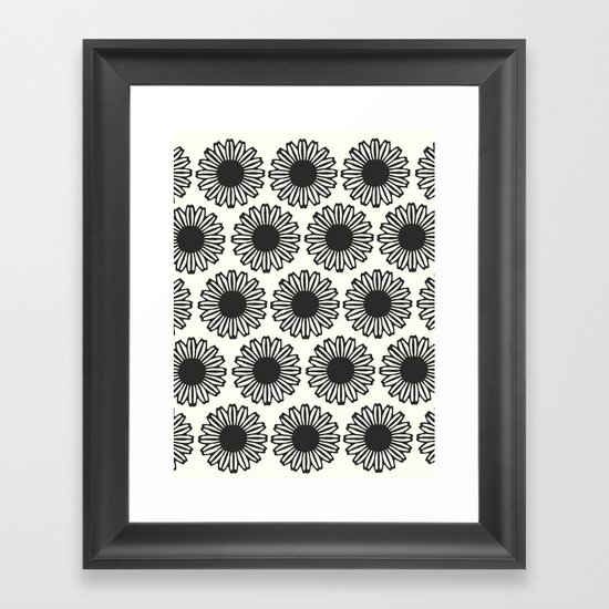 vintage flowers black Framed Art Print