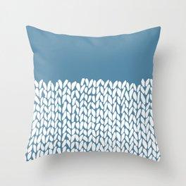 Half Knit Blue Throw Pillow