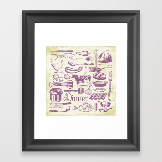 Retro Dinner - Aged Framed Art Print