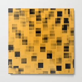 Yellow and black squares abstract art Metal Print