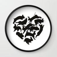 bunnies Wall Clocks featuring Bunnies by Silke Spingies