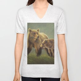 MAMA GRIZZ FIERCE AND FREE Unisex V-Neck