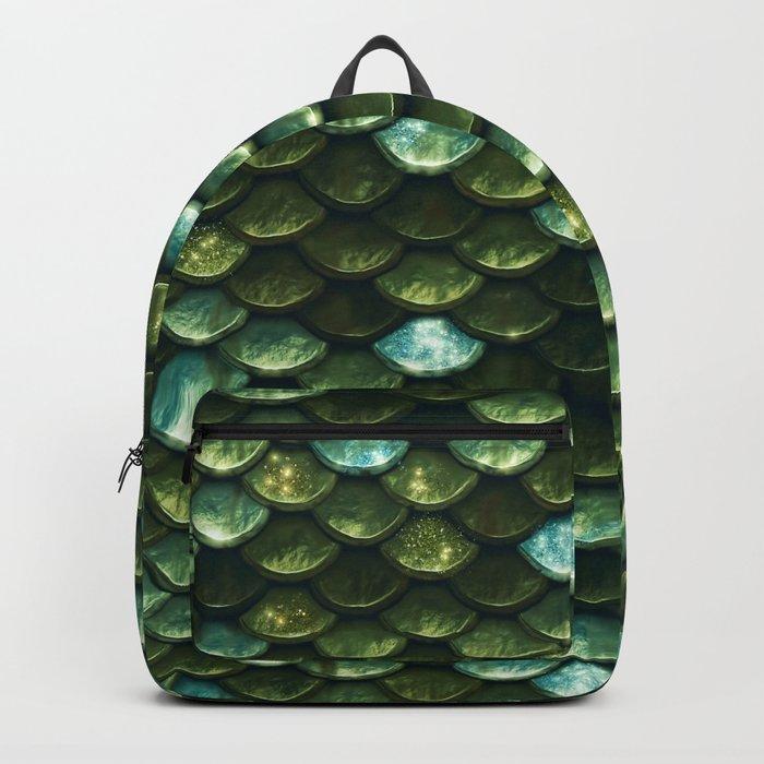 Aqua and green sparkling mermaid glitter scales- Mermaid Scales Backpack