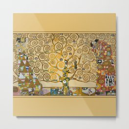 The Tree of Life with gold stripe by Gustav Klimt Metal Print
