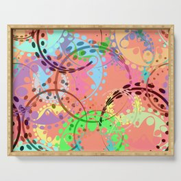 Texture of pastel gears and laurel wreaths in kaleidoscopic pink style. Serving Tray