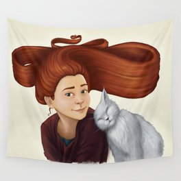 2014-08 Girl with her cat Wall Tapestry