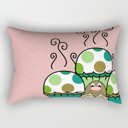 Cute Monster With Green And Brown Polkadot Cupcakes Rectangular Pillow