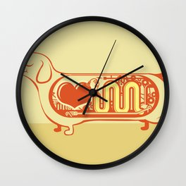 I heart sausage dogs Wall Clock