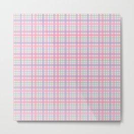 Pink, Purple, Green & Blue Plaid Pattern Metal Print