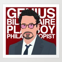 robert downey jr Art Prints featuring Robert Downey Jr/IronMan by William Dowling