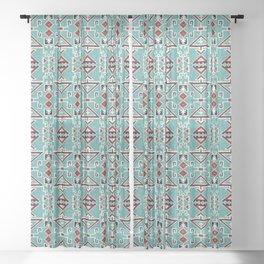 Native American Indians Navajo Pattern Sheer Curtain