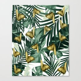Tropical Butterfly Jungle Leaves Pattern #3 #tropical #decor #art #society6 Canvas Print