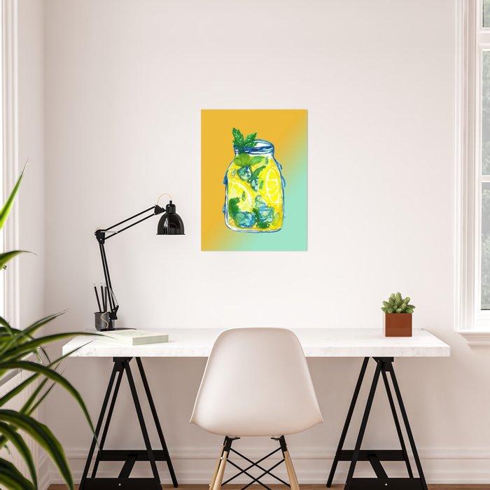 Watercolor - Ice Lemon Mint Tea Poster