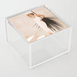 Minimal Woman with a Palm Leaf Acrylic Box