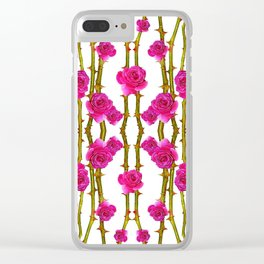 "FUCHSIA PINK ""ROSES & THORNS"" WHITE ART Clear iPhone Case"
