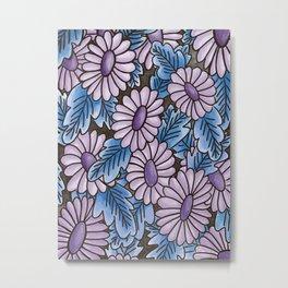 Purple flowers blue leaves pattern Metal Print