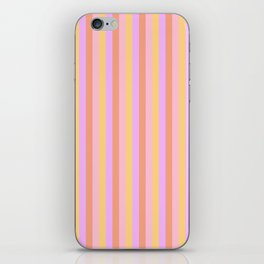 Hibiscus Hawaiian Flower Cabana Stripes in Pink, Yellow, Peach and Lilac iPhone Skin