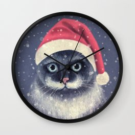 Christmas cat with a mustache Wall Clock
