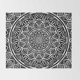 Black and White Simple Simplistic Mandala Design Ethnic Tribal Pattern Throw Blanket