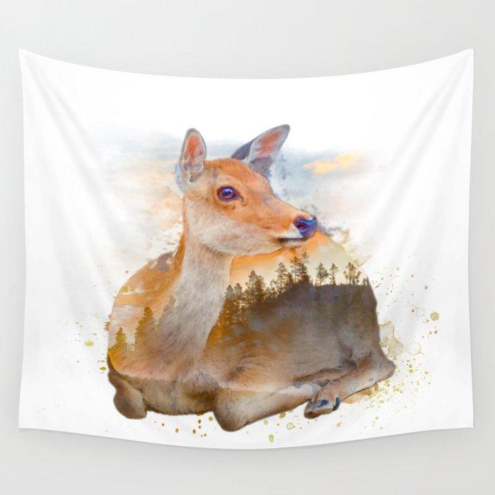 Sitting Deer Landscape Watercolor Wall Tapestry